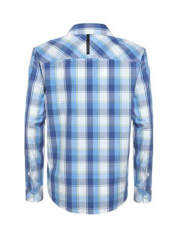 Camisa-Infantil-Calvin-Klein-Jeans-Xadrez-Recorte-E-Logo-Azul-Marinho