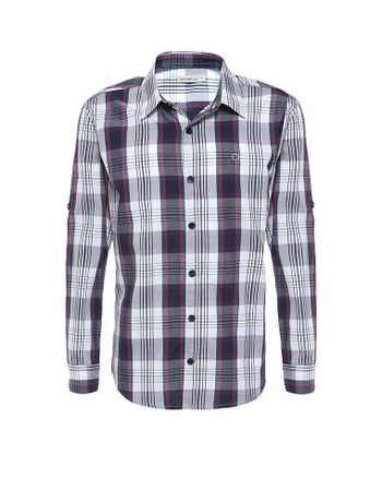 Camisa-Infantil-Calvin-Klein-Jeans-Xadrez-Recorte-E-Logo-Marinho