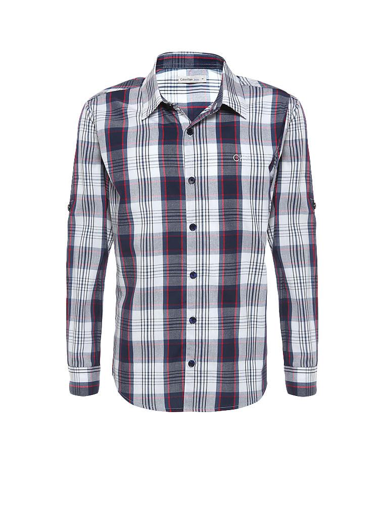 Camisa Infantil Calvin Klein Jeans Xadrez Recorte E Logo Marinho ... 01b0e9a277