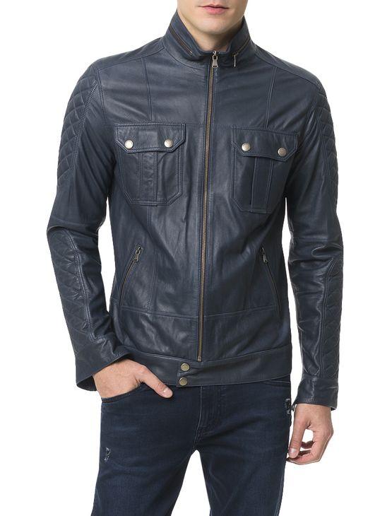 Casaco-Calvin-Klein-Jeans-Couro-Marinho