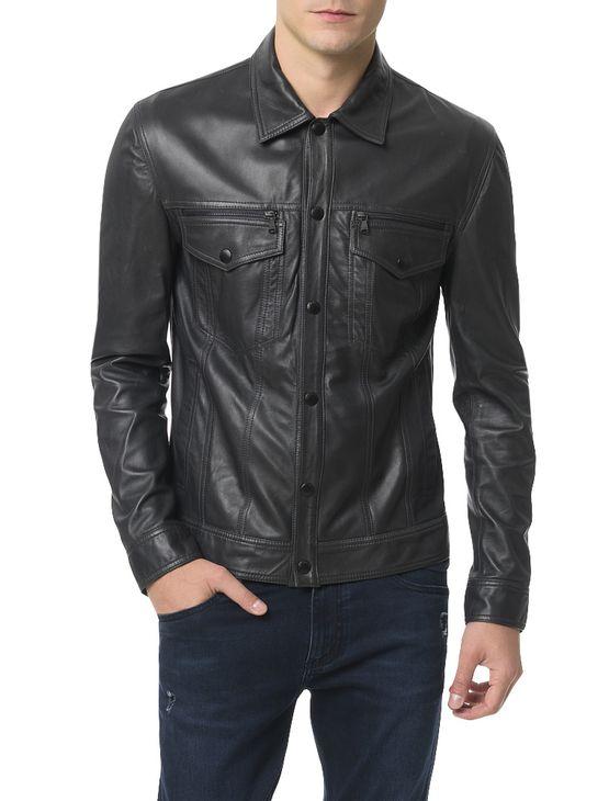 Casaco-Calvin-Klein-Jeans-Couro-Trucker-Chumbo