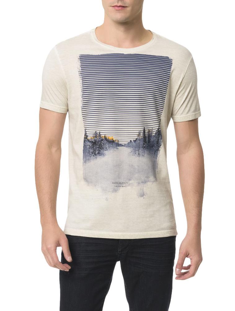 Camiseta Calvin Klein Jeans Estampa Calvin Paisagem Cinza Claro ... 6925f05b78
