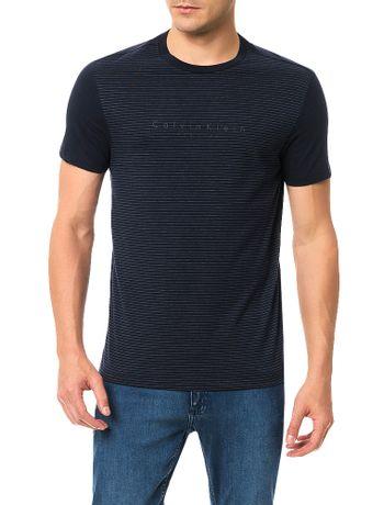 Camiseta-Slim-Calvin-Klein-Frente-Listra-e-Logo-Espaco-Marinho