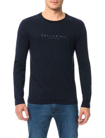 Camiseta-Calvin-Klein-Flame-Mescla-Logo-Espacado-Marinho