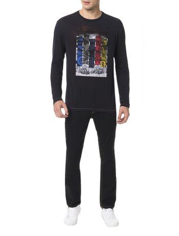 Camiseta-Calvin-Klein-Jeans-Spray-Devore-Marinho