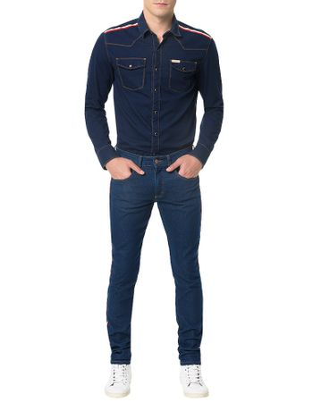 Calca-Jeans-Super-Skinny-Calvin-Klein-Jeans-Five-Pockets-Azul-Medio