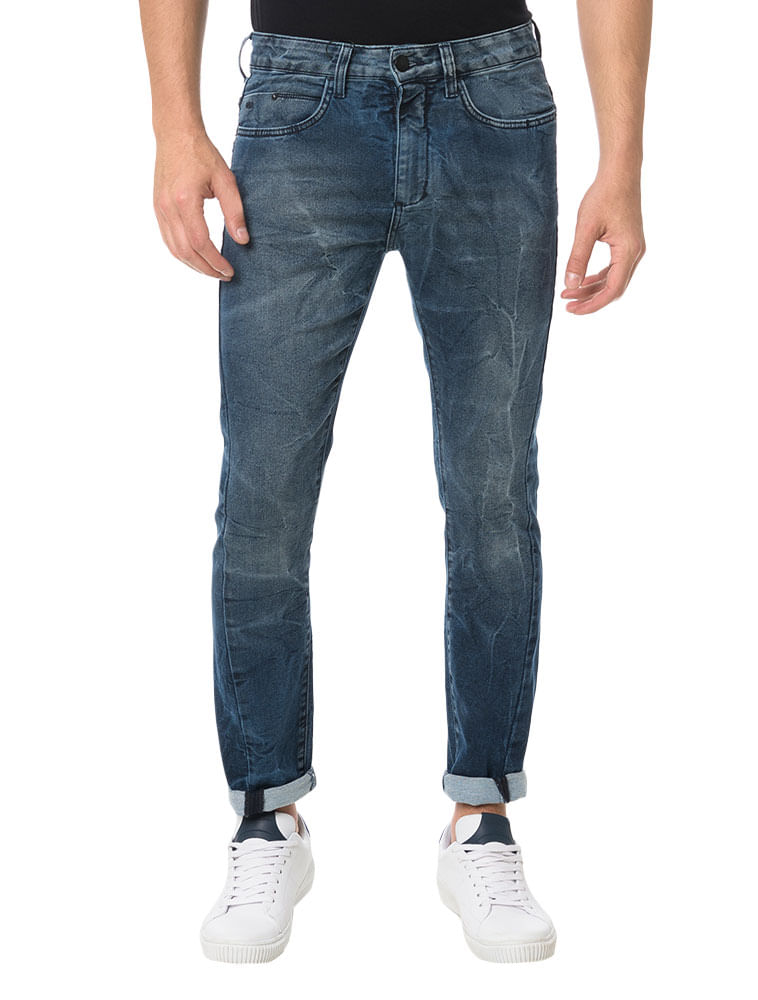 Calça Calvin Klein Jeans Five Pockets Slouchy Skinny Marinho ... 286075680a