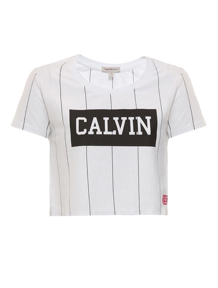 Blusa Cropped Infantil Calvin Klein Jeans Listras Na Vertical Branco ... c52e9891cf6