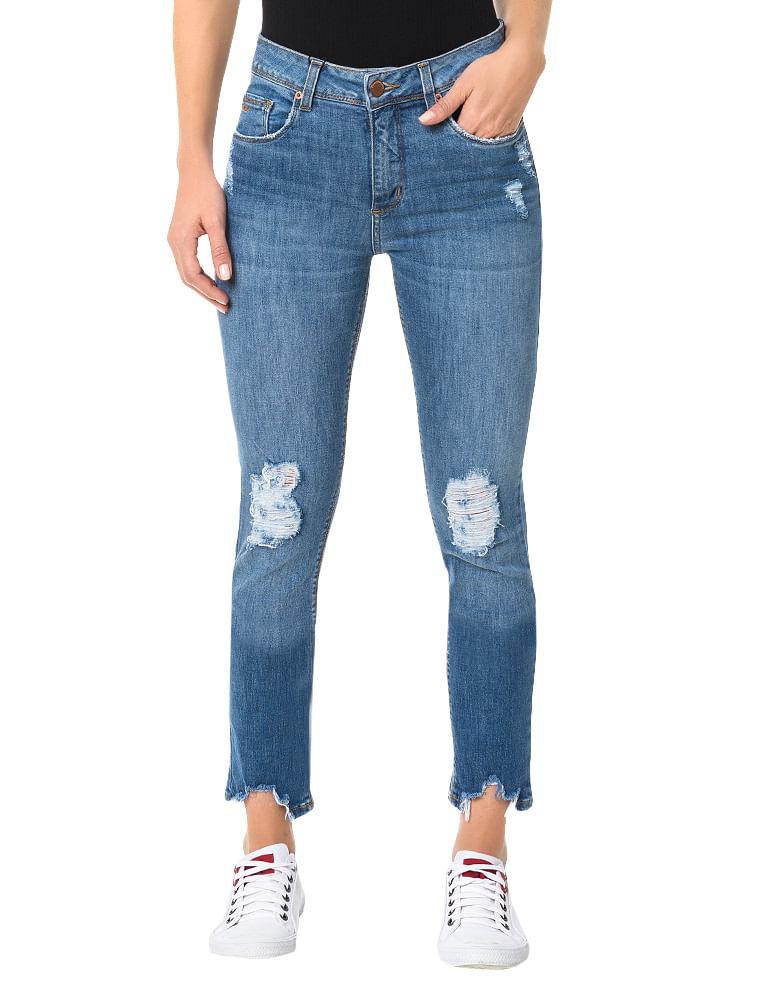 Calça Calvin Klein Jeans Five Pockets Skinny High Azul Médio ... 2d34fe79c8