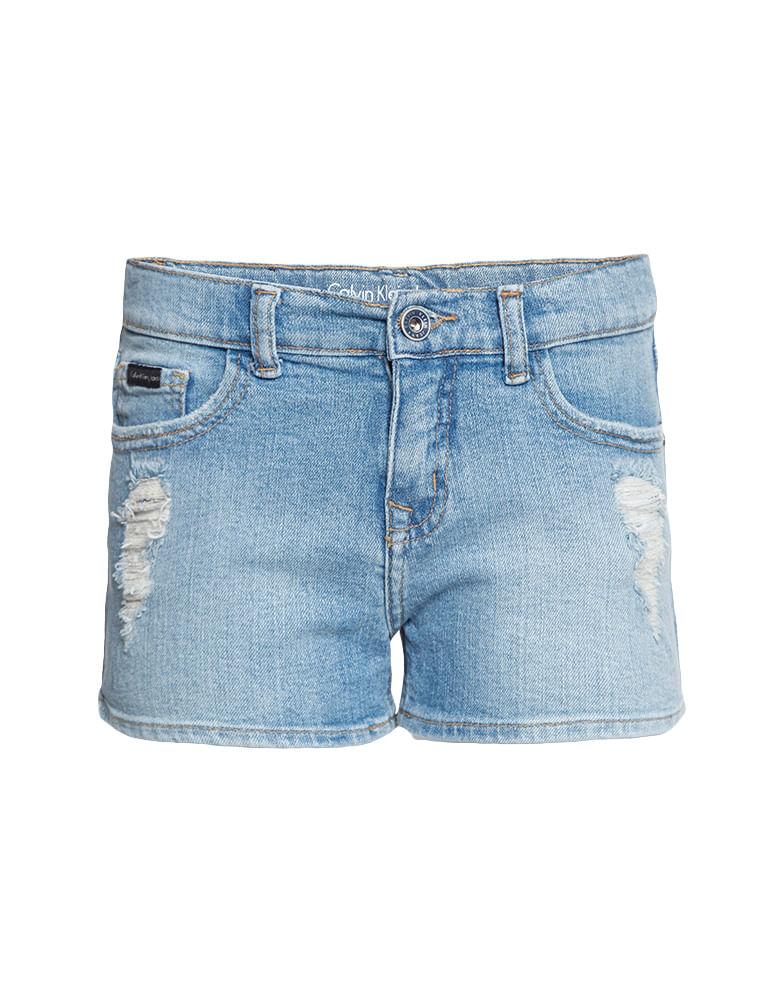 Shorts Jeans Infantil Calvin Klein Jeans Five Pockets Azul Claro ... 0752676b3a