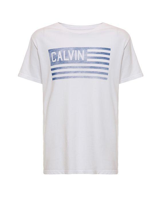 Camiseta-Infantil-Calvin-Klein-Jeans-Estampa-Frontal-Bandeira-Branco