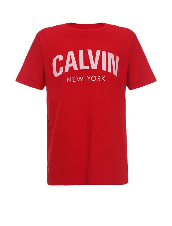 Camiseta-Infantil-Calvin-Klein-Jeans-Estampa-Frontal-Vermelho