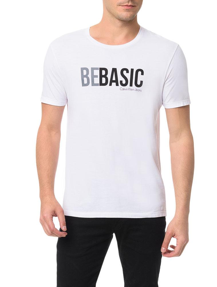 c43dfeb3a647b Camiseta Calvin Klein Jeans Estampa Be Basic Branco - Calvin Klein