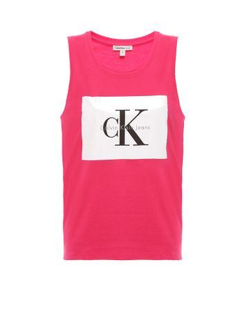 Blusa-Infantil-Estampa-Calvin-Klein-Jeans-Frente-Rosa-Escuro