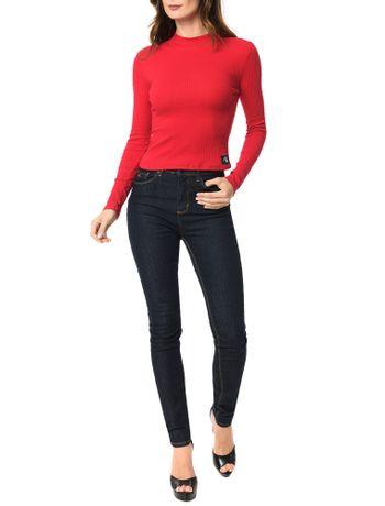 Blusa-Calvin-Klein-Jeans-Gola-Alta-De-Ribana-Vermelho