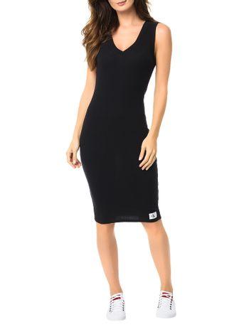 Vestido-Malha-Calvin-Klein-Jeans-Ribana-Comprimento-Midi-Preto