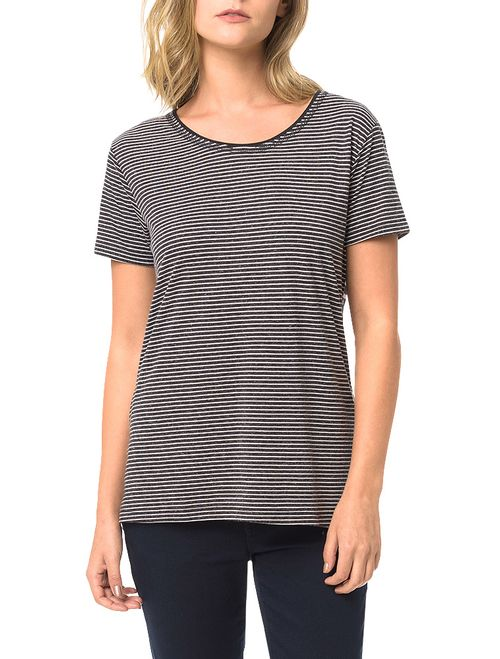 Blusa Preta Calvin Klein Jeans Listrada