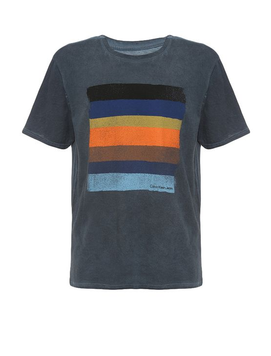 d815cea797b64 Camiseta Infantil Calvin Klein Jeans Estampa Listrada Marinho ...