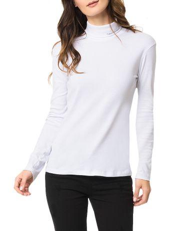 Blusa-Calvin-Klein-Jeans-Com-Estampa-Logo-Gola-Alta-Branco