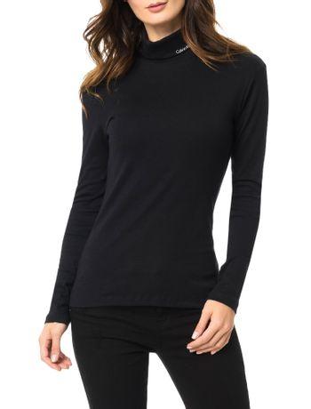 Blusa-Calvin-Klein-Jeans-Com-Estampa-Logo-Gola-Alta-Preto