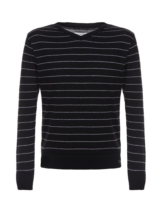 Sueter-Infantil-Calvin-Klein-Jeans-Listrado-E-Logo-Frontal-Preto