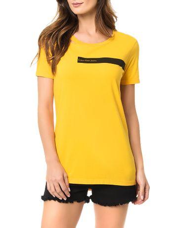 Blusa-Calvin-Klein-Jeans-Com-Retangulo-Estampado-Com-Logo-Amarelo-Ouro