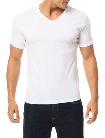 Camiseta-Calvin-Klein-Swimwear-V-Logo-Manga-Branco