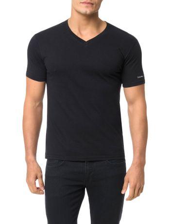 Camiseta-Calvin-Klein-Swimwear-V-Logo-Manga-Preto
