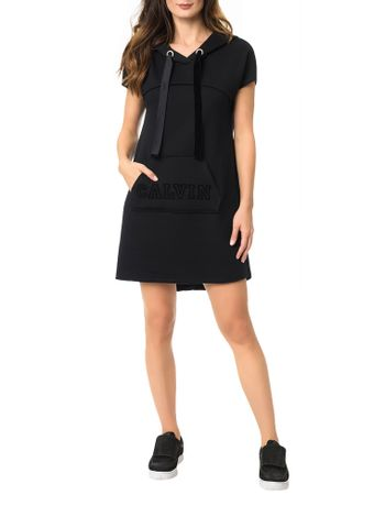 Vestido-Malha-Calvin-Klein-Jeans-Bolso-Canguru-Com-Estampa-Preto