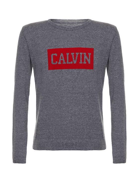 Sueter-Infantil-Calvin-Klein-Jeans-Logo-Peito-Chumbo