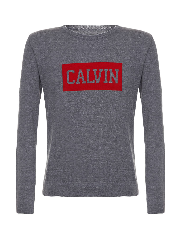 Suéter Infantil Calvin Klein Jeans Logo Peito Chumbo - Calvin Klein 832d7c598c1cf