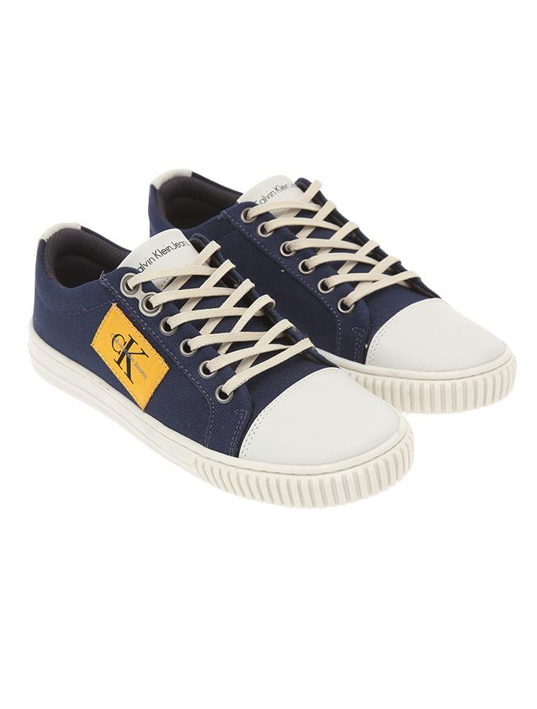 6cdba000783cb Tênis Infantil Calvin Klein Jeans Lona Logo Lateral Marinho - Calvin ...