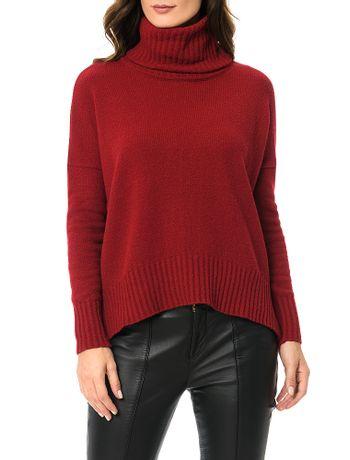 Tricot-Calvin-Klein-Com-Gola-Vermelho-Escuro