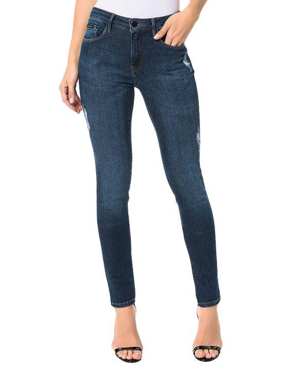 Calça Calvin Klein Jeans Five Pockets Straight High Marinho - Calvin ... 81e4907960