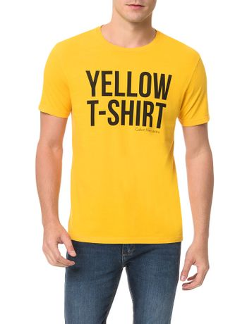 Camiseta-Calvin-Klein-Jeans-Estampa-White-T-Shirt-Amarelo-Ouro