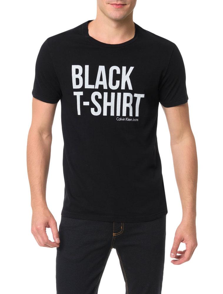 9a3aa1edb9 Camiseta Calvin Klein Jeans Estampa White T-Shirt Preto - Calvin Klein