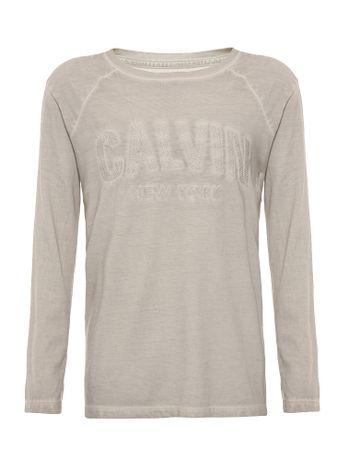 Camiseta-Infantil-Calvin-Klein-Jeans-Bordado-Logo-Cinza-Claro