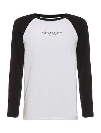 Camiseta-Infantil-Calvin-Klein-Jeans-Raglan-E-Institucional-Branco