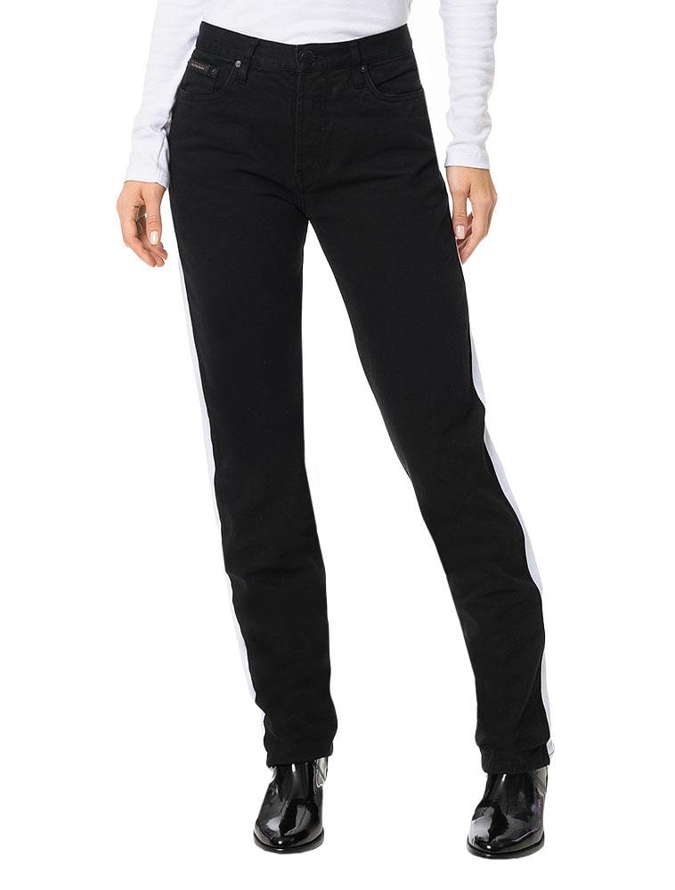 Calça Color Calvin Klein Jeans 5 Pockets Straight High Preto ... 89bdd0bdfb