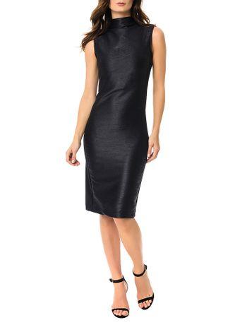 Vestido-Calvin-Klein-Com-Malha-Nervurada-Preto