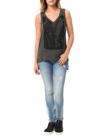 Blusa-Calvin-Klein-Jeans-Decote-V-Estampa-Frontal-Mescla