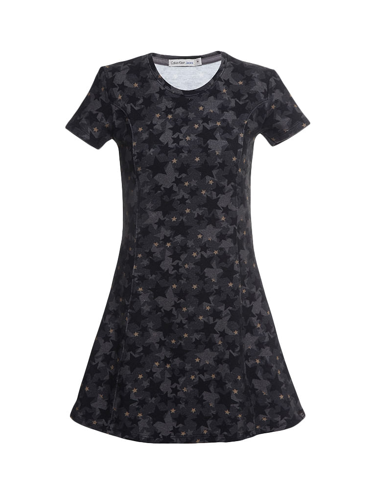 b59eb390a Vestido-Infantil-Calvin-Klein-Jeans-Camuflado-Estrelas-Chumbo. Loading zoom