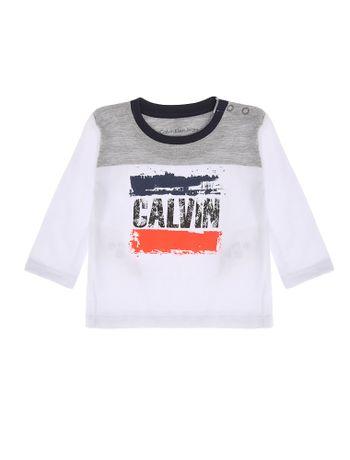 Blusa-Infantil-Calvin-Klein-Jeans-Recorte-Contrastante-Branco