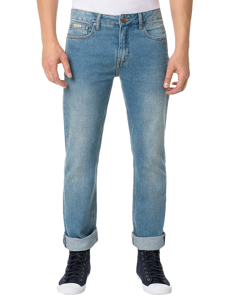 Calça Calvin Klein Jeans Five Pockets Straight Azul Claro - Calvin Klein fefeadfc43e