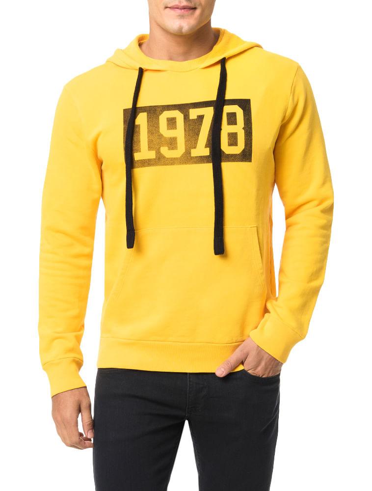 Casaco Calvin Klein Jeans Capuz Estampa Vintage 1978 Amarelo Ouro ... a5fcd529f9e