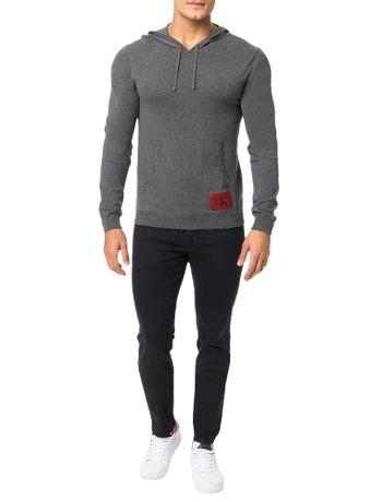 Sueter-Calvin-Klein-Jeans-Capuz-Canguru-Re-Issue-Chumbo