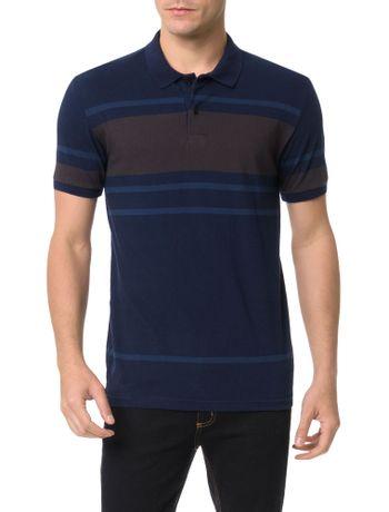 Polo-Slim-Calvin-Klein-Listrada-Azul-Escuro