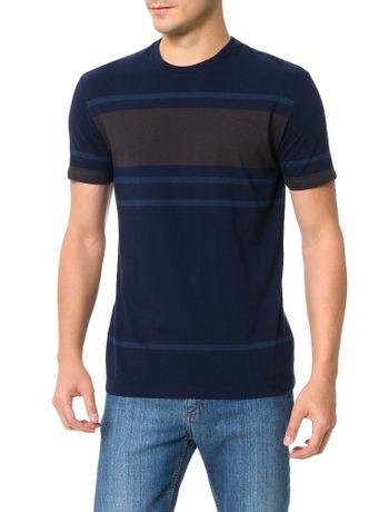 Camiseta-Slim-Calvin-Klein-Listrada-Azul-Escuro