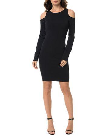 Vestido-Calvin-Klein-Malha-Faixa-Com-Couro-Sintetico-Preto