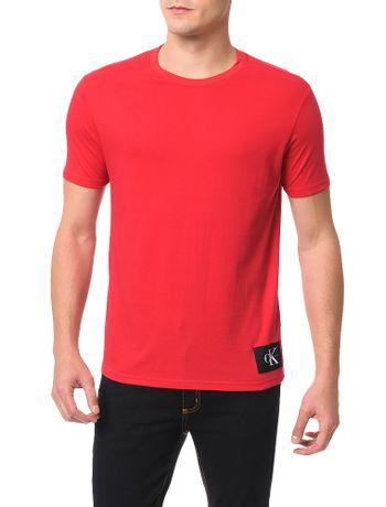 Camiseta-Calvin-Klein-Jeans-Etiqueta-Ck-Vermelho